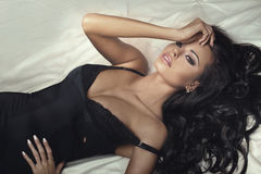 Beauty portrait of sexy brunette lady. Stock Images