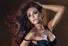 Beauty portrait of sexy brunette woman Stock Images