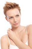 Beauty portrait of short hair woman Royalty Free Stock Photography