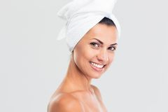 Beauty portrait of a smiling beautiful woman with fresh skin Royalty Free Stock Photo