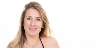 Beauty portrait of smiling blonde woman face with natural skin in web banner header template aside copy space