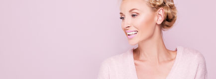 Beauty portrait of smiling blonde woman. stock photography
