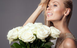 Beauty portrait of smiling bride lady. Stock Photography