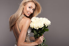 Beauty portrait of smiling bride lady. Royalty Free Stock Photos