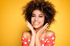 Beauty portrait of smiling girl with afro. Stock Photography