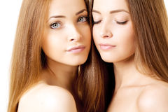 Beauty portrait of two beautiful young women Royalty Free Stock Images