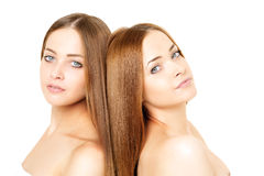 Beauty portrait of two beautiful young women Stock Photo