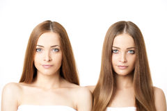 Beauty portrait of two beautiful young women Royalty Free Stock Photography