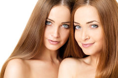 Beauty portrait of two beautiful young women Royalty Free Stock Image
