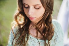 Beauty portrait of a very pretty young girl. Doll appearance. Stock Photos