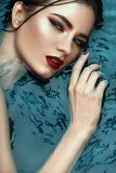Beauty portrait in water, fashion vogue style shoot, close up makeup. Stock Images