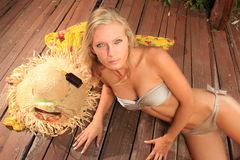 Beauty portrait of woman on the beach Royalty Free Stock Photo