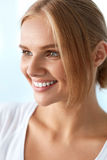 Beauty Portrait Of Woman With Beautiful Smile Fresh Face Smiling. Beauty Woman Portrait. Beautiful Happy Smiling Girl With Perfect White Smile, Blonde Hair And stock photo