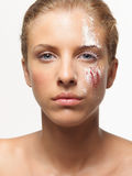 Beauty portrait woman colored powders on face Stock Photography