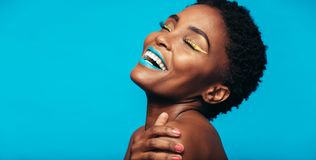Beauty portrait of woman with colorful makeup Stock Photo