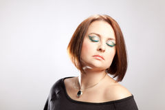 Beauty portrait of a woman. With a distinctive Make Up stock photo