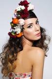 Beauty portrait of woman in flower crown Stock Photo