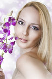 Beauty portrait of woman with flowers Royalty Free Stock Photography