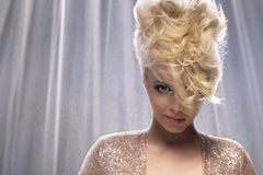 Beauty portrait woman with golden makeup Stock Images