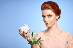 Beauty portrait woman, Green Eyes, Natural Makeup Royalty Free Stock Images