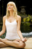 Beauty portrait of a woman in the lotus position doing yoga in a tropical setting. Stock Photo