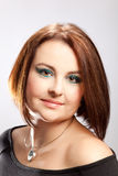 Beauty portrait of a woman. With pageboy haircut stock images