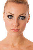 Beauty portrait of woman with perfect makeup, smokey eyes, full Royalty Free Stock Photography