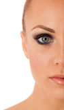 Beauty portrait of woman with perfect makeup, smokey eyes, full Royalty Free Stock Images