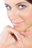 Beauty portrait of woman with perfect nails. Beauty portrait of young woman with perfect nails Royalty Free Stock Photos