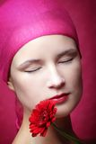 Beauty portrait of a woman in pink Stock Photos