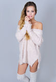 Beauty portrait woman in rose quartz cardigan Royalty Free Stock Photography