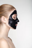 Beauty portrait woman skin care health black mask white background close up profile Royalty Free Stock Photography