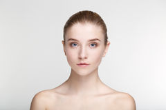 Beauty portrait woman skin care health black mask white background close up Stock Image