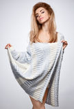 Beauty portrait woman,stylish warm knitted sweater Stock Images