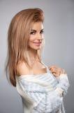 Beauty portrait woman,stylish warm knitted sweater Stock Photos