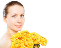 Beauty portrait woman and yellow flowers Stock Photos