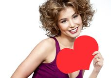 Woman beauty with red heart valentine`s love stock image
