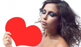 Woman beauty with red heart valentine`s love royalty free stock image