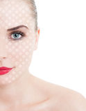 Beauty portrait of young, attractive female against white backgr Stock Photography