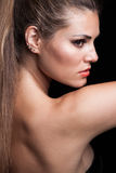 Beauty portrait of young blonde woman with ponytail profile Royalty Free Stock Photo