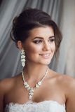 Beauty portrait of young bride. Perfect makeup and hairstyle. Royalty Free Stock Images