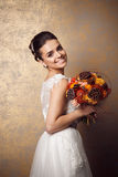 Beauty portrait of young bride. Perfect makeup and hairstyle. Stock Photography