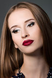 Beauty portrait of young brown-haired woman Stock Photos