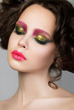 Beauty portrait of young brunette model with liquid latex makeup Royalty Free Stock Photos