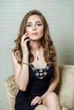 Beauty portrait of young brunette woman Stock Photos