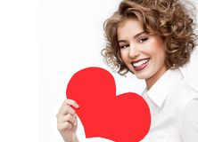 Beauty woman portrait red heart valentine`s love royalty free stock photos