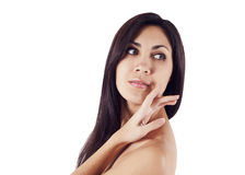 Beauty portrait of young caucasian woman. In studio Stock Photography