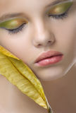 Beauty portrait of young girl with clean skin and creative brigh Royalty Free Stock Photos