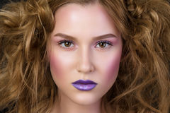 Beauty portrait of young girl with fashion podium make-up Royalty Free Stock Photography