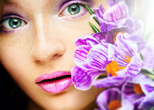 Beauty portrait young girl crocus Royalty Free Stock Image